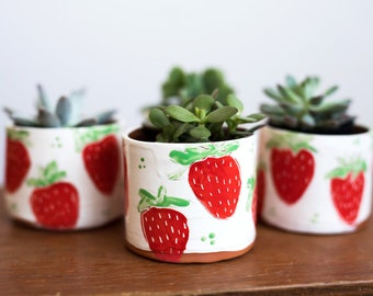 Colorful Ceramics Planter Strawberry Ceramic Succulent Planter Ceramic Planter Succulents Strawberry Planter Strawberry Ceramics Planter