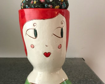 Pin Cushion Lady Ceramic pin cushion unique pincushion