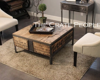 "Coffee Table | The 36"" ZORIA Farms | Custom Crate Furniture - 100+ yr old Barn Wood"