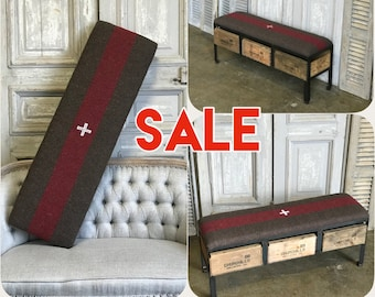 SWISS ARMY Bench Vintage Crate Ottoman with Storage | Custom Furniture