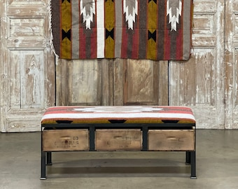 Navajo Southwestern Blanket Bench with Vintage Crate Storage Ottoman | Custom Furniture