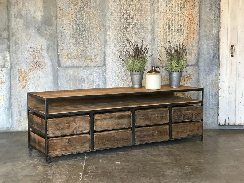 The Henry 8 Drawer Buffet Table Or Tv Console Vintage Wood Crates 100yr Old Barn Wood