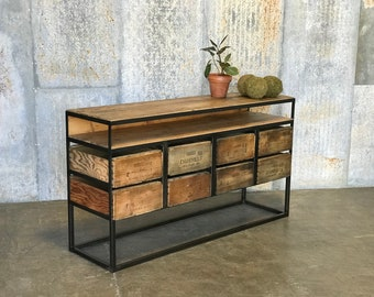 TV Console The Henry |  Vintage Wood Crates & 100yr old Barn Wood