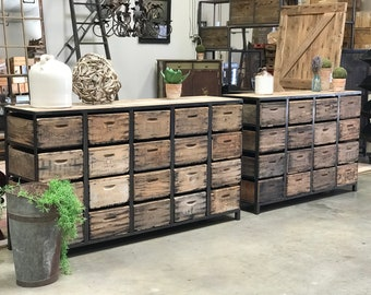 Dresser Console | The Crescendo | repurposed vintage crates as drawers and 100yr old Barn Wood Top
