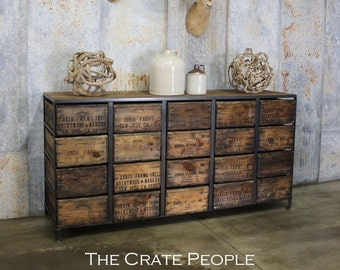 100yr old Barn Wood & Vintage Fruit Crates | 20 Crate Credenza | LARGE piece! - for Retail or Home | Custom Made Furniture