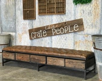 Distressed Leather Tufted Bench | The Grande - Custom Made Furniture