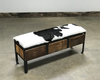 Bench Brazilian Cowhide with vintage wood crate storage | Custom Furniture