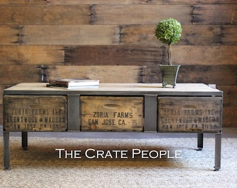 Coffee Industrial Table | 3 Zoria Crate - Custom Made Vintage Crate furniture - 100yr old Barn Wood