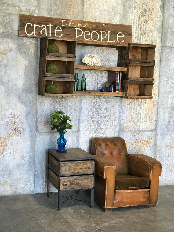 Double Crate Side Table Reclaimed Barn Wood U0026 Vintage Crates | Etsy