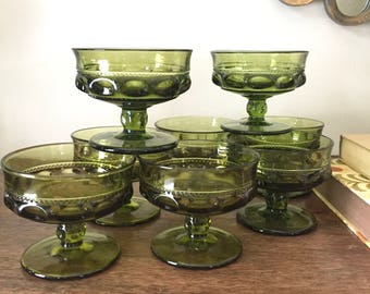 Vintage Indiana Glass Green Kings Crown Sherbet Glasses 1970s Dessert Glasses  Green Glass Sherbet Cups Set Of 9