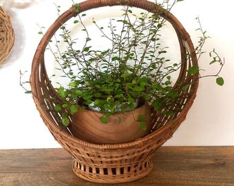 Vintage bamboo basket with handle, wicker basket