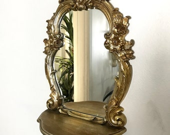 Gold Mirror Shelf Etsy