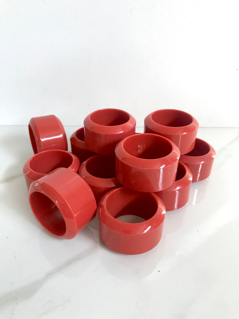 Set Of 12 Vintage 80s Coral Pink Plastic Napkin Rings