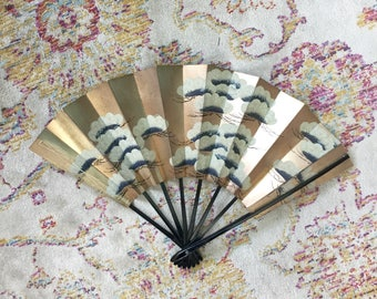 Vintage Hand Painted Paper Fan , chinoiserie