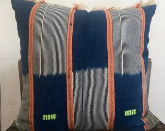 De Baule Vintage Indigo pillow,African Indigo Mud Cloth Pillow,African Ethnic Mudcloth textile,Hand dye,18x18,Blue,White & orange,ethnic