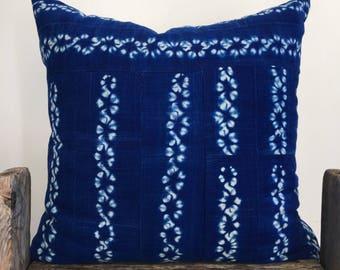 Bright Blue Indigo Mud Cloth Pillow,Hand Made California,African bright indigo throw pillow,Tye dye,22x22,ethnic case,Blue indigo cushion