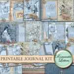 Printable journal kit digital printable collage sheet printable journal paper craft A4  8.5x11 vintage mini album victorian journal tag card