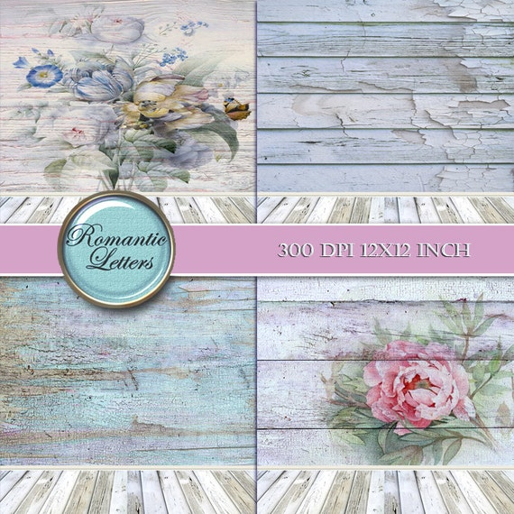 Floral Digital Scrapbook Paper Shabby Chic Vintage ROSE