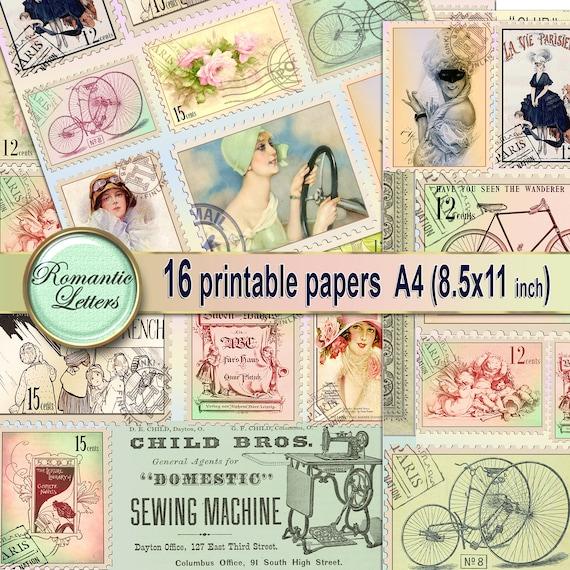 Victorian digital paper pack digital paper vintage ephemera digital printable paper decoupage digital craft paper A4 8x11 inch vintage paper