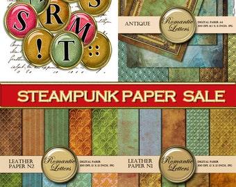 SALE Digital scrapbook paper steampunk Sale digital scrapbook alpha digital scrapbook background paper leather 1 inch circles steampunk sale