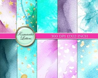 Watercolor digital paper Watercolor digital scrapbook background paper Watercolor spring background paper Printable watercolor spring paper