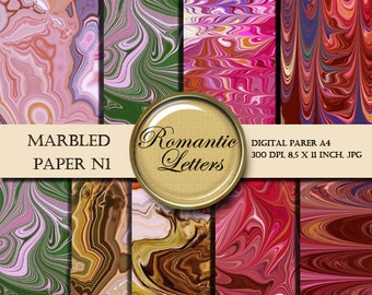 Marbled digital scrapbook paper pack  digital printable paper background origami paper red green vintage marbled paper