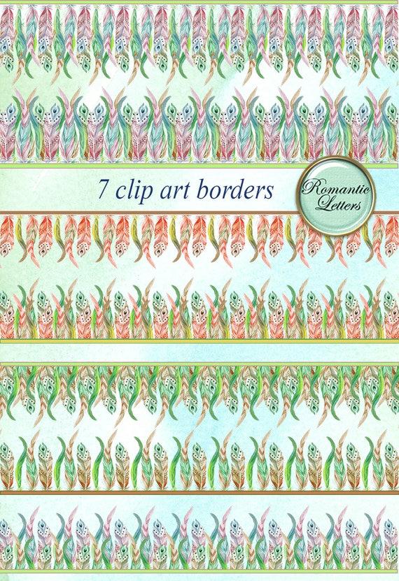 70 Off Feather Digital Scrapbook Border Clip Art Feather Etsy