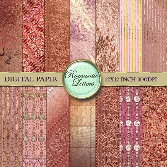 rose gold digital scrapbook paper digital paper gold foil gold etsy