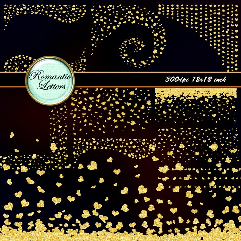 Gold heart confetti digital overlay Photoshop clip art gold confetti clip  art overlay Sparkling clipart scrapbook border gold heart clipart