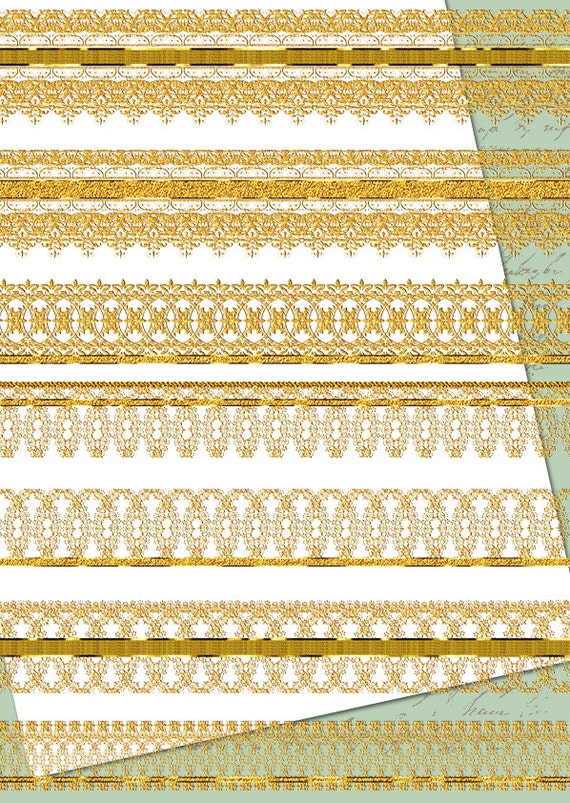 Digital Border gold lace clipart digital Scrapbook Wedding ...