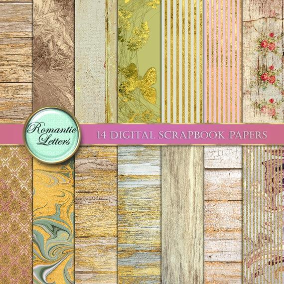 digital paper wood digital scrapbook paper gold glitter etsy