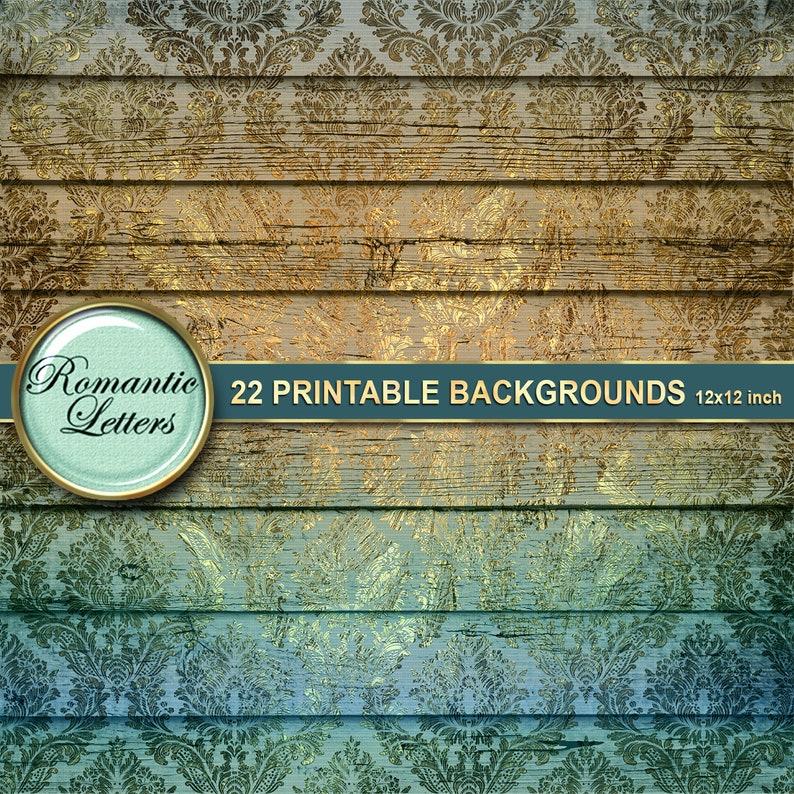 Digital printable photography backdrop Scrapbook album background paper golden victorian wood plank linen texture grunge wallpaper backdrop