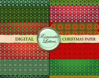 Christmas digital paper pack sale Christmas digital scrapbook paper background digital Christmas background red green digital gold