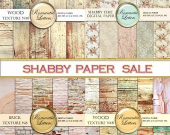 SALE digital scrapbook paper pack Sale digital wood background sale wedding paper Shabby Chic wood brick Shabby Chic printable backdrop