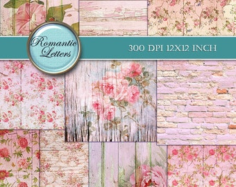 Shabby Chic digital scrapbook paper pack pink Floral digital printable paper Shabby Chic floral digital scrapbook background paper rose pink