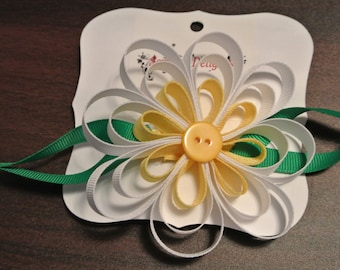 Daisy Loopy / Pinwheel Bow With Leaves - White, Pink Or Purple
