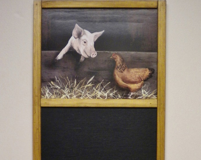 "Pig and Chicken Chalkboard | Primitive Chalkboards | Billy Jacob Prints ""Bacon & Eggs"" 
