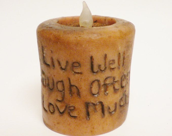 Live Laugh Love Candle | Primitive Candles | Handmade Candles | Country Farmhouse Accent Lighting