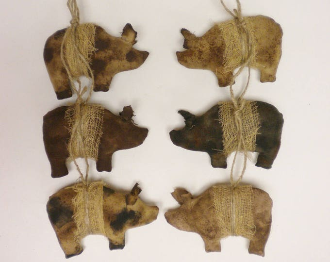 Primitive Pig Ornament - Made To Order | Handmade Pigs | Country Farmhouse Animal Ornaments