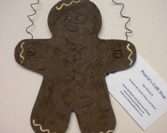 Gingerbread Man Ornament | Primitive Ornaments | Christmas Decor