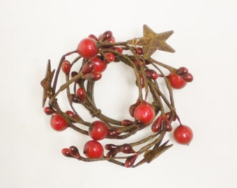 Pip Berry Candle Ring Red with Rusty Stars, Pip Berry Candle Rings, Pip Berry Wreaths, Country Farmhouse Decor