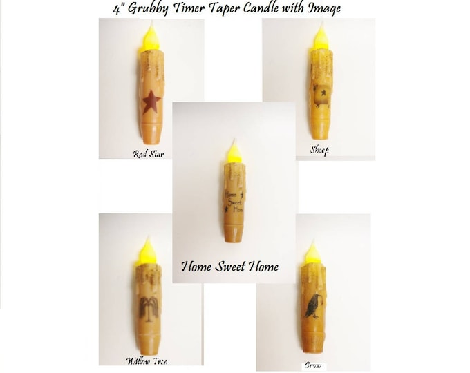 Timer Taper Candle with Image | Small Timer Tapers | Primitive Candles | Flameless Candles | Country Farmhouse Decorative Candles