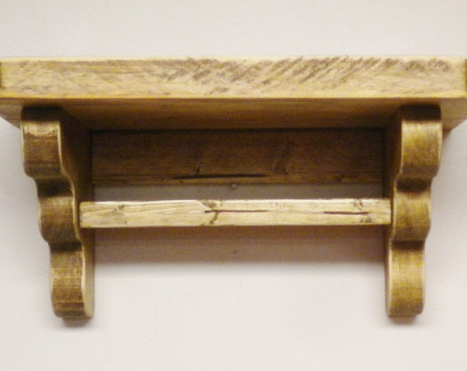 Shelf with Bar - Made To Order   Primitive Shelving   Wood Shelves   Country Farmhouse Decor