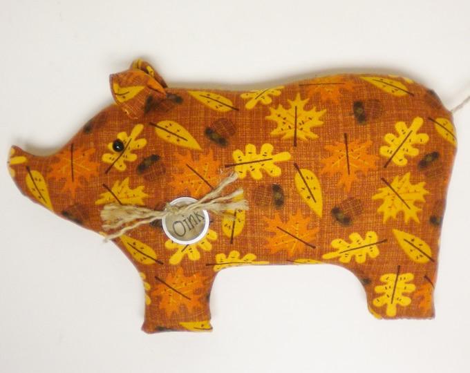 Fall Leaf Print Fabric Pig - Made To Order | Primitive Pigs | Country Farmhouse Pig Decor