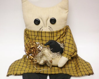 Cat Doll with Crow and Sack of Pip Berries, Primitive Fall Decor, Country Farmhouse Accents