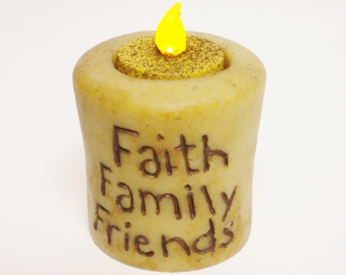Faith Family Friends Candle | Flameless Candles | Handmade Candles | Primitive Candles