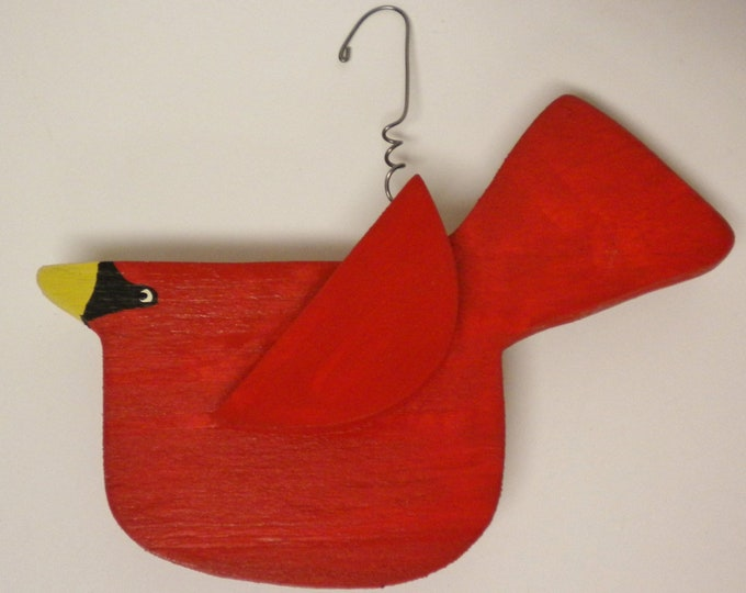 Cardinal Ornament with Mask - Made To Order | Primitive Christmas Ornaments | Handmade Cardinals