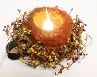 Fall Candle Arrangement, Primitive Candles, Accent Lighting, Country Farmhouse Decor