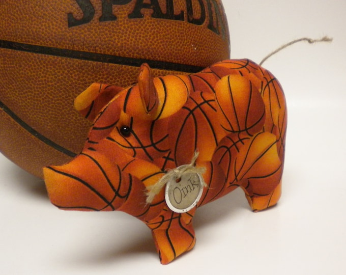 Basketball Pig - Made To Order | Sports Decor | Decorative Pigs