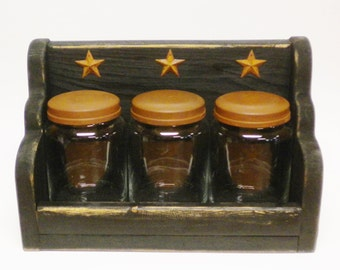 Apothecary Jar Set, Primitive Jars, Glass Jars with Wood Box, Canister Sets